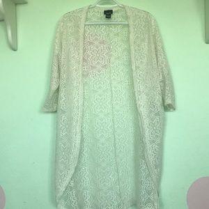 white lace detailing kimono
